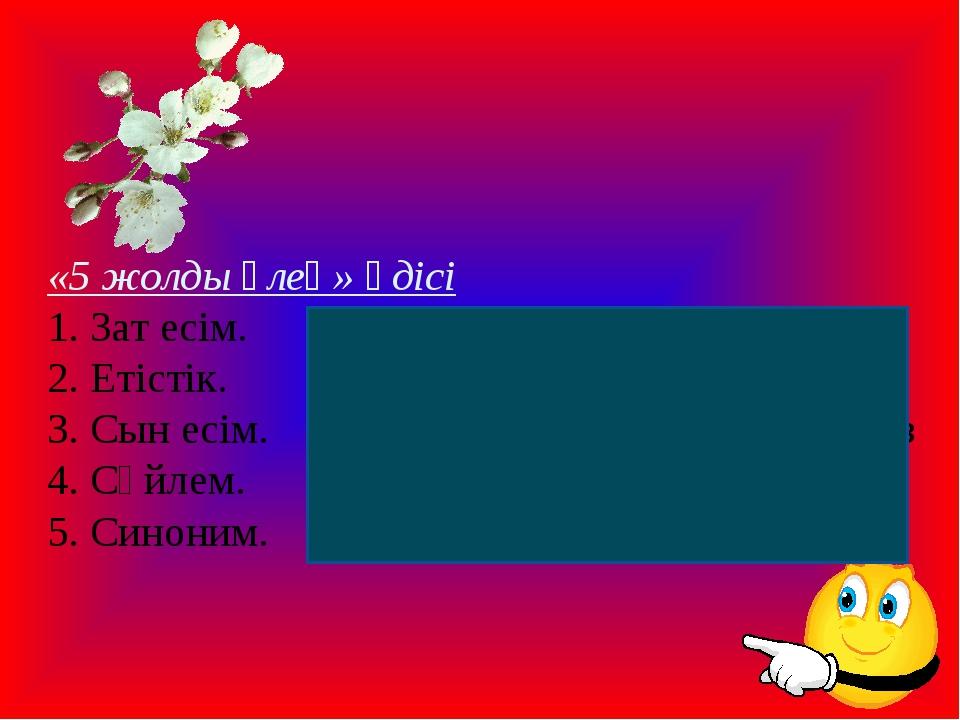 «5 жолды өлең» әдісі 1. Зат есім. Теңдеу 2. Етістік.Белгісіз,қу 3. Сын есі...