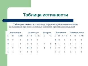 Таблица истинности Таблица истинности — таблица, определяющая значение сложно
