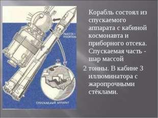 Корабль состоял из спускаемого аппарата с кабиной космонавта и приборного от