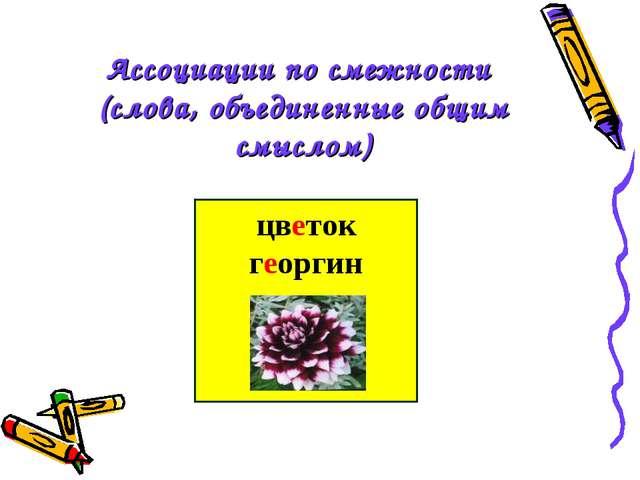 Ассоциации по смежности (слова, объединенные общим смыслом) цветок георгин