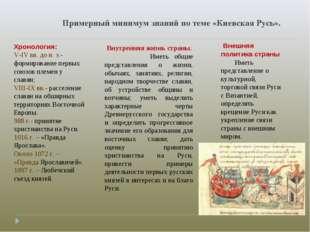 Примерный минимум знаний по теме «Киевская Русь». Хронология: V-IV вв. до н.