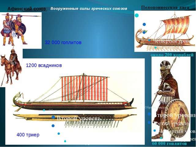 Вооруженные силы греческих союзов Афинский союз Пелопоннесская лига 32 000 го...