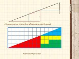 «Гипотенуза» на самом деле является ломаной линией  Перестановка частей