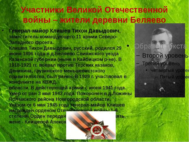 Участники Великой Отечественной войны – жители деревни Беляево Генерал-майор...