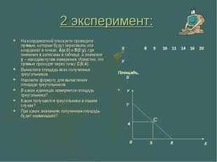 2 эксперимент: На координатной плоскости проведите прямые, которые будут пере