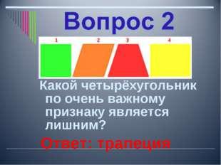 Какой четырёхугольник по очень важному признаку является лишним? Ответ: трап