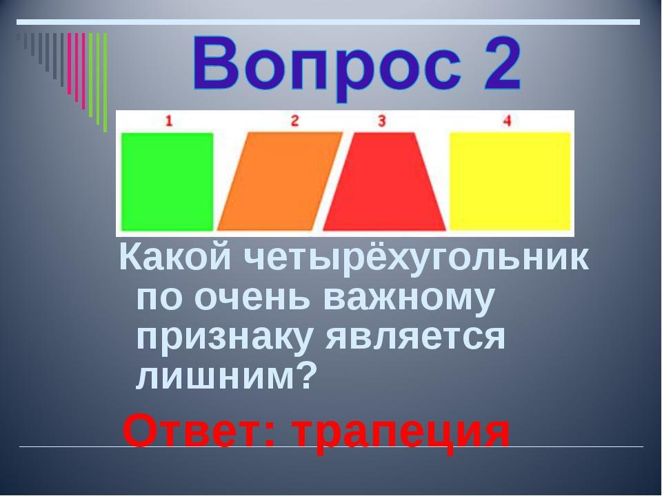 Какой четырёхугольник по очень важному признаку является лишним? Ответ: трап...