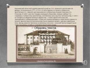 Воронежский областной художественный музей им. И.Н. Крамского расположен во д
