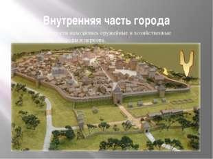 Внутренняя часть города Внутри крепости находились оружейные и хозяйственные