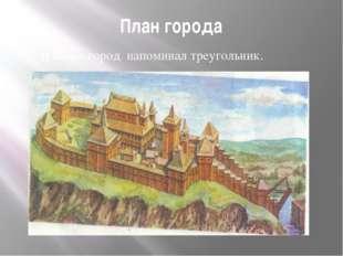 План города В плане город напоминал треугольник.