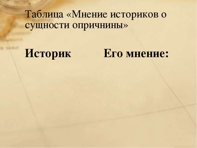 Таблица «Мнение историков о сущности опричнины» Историк Его мнение: