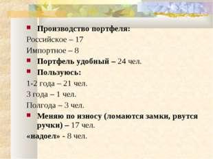 Производство портфеля: Российское – 17 Импортное – 8 Портфель удобный – 24 че