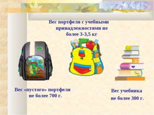 Вес «пустого» портфеля не более 700 г. Вес портфеля с учебными принадлежностя