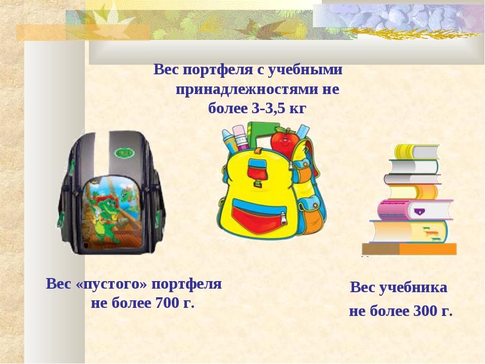 Вес «пустого» портфеля не более 700 г. Вес портфеля с учебными принадлежностя...