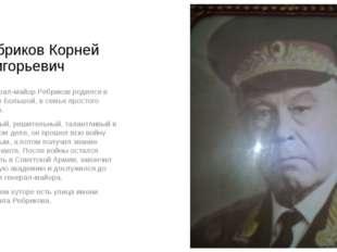 Ребриков Корней Григорьевич Генерал-майор Ребриков родился в хуторе Большой,