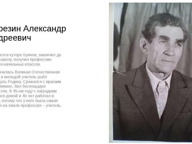 Березин Александр Андреевич Родился в хуторе Буянов, закончил до войны школу,...