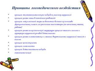 Принципы логопедического воздействия принцип этиопатогенетического подхода к