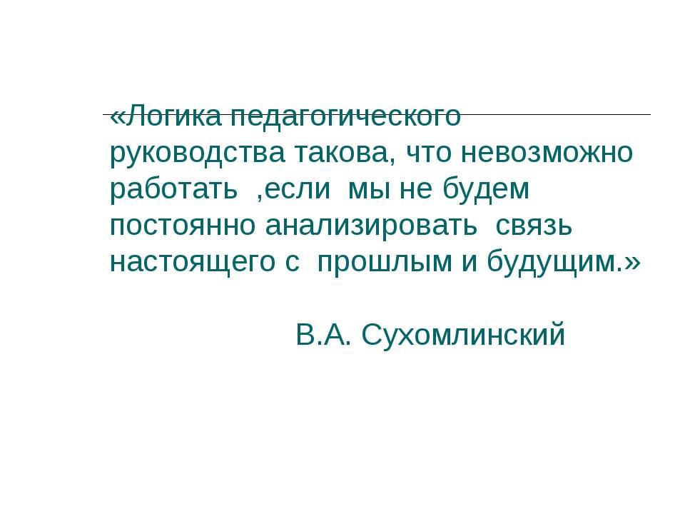 «Логика педагогического руководства такова, что невозможно работать ,если мы...