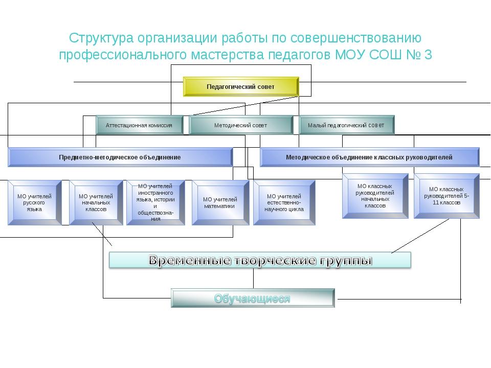 Структура организации работы по совершенствованию профессионального мастерств...