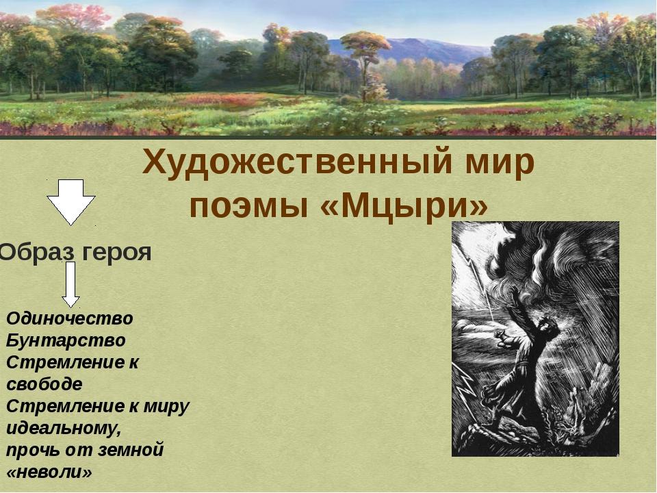 Художественный мир поэмы «Мцыри» Образ героя Одиночество Бунтарство Стремлени...
