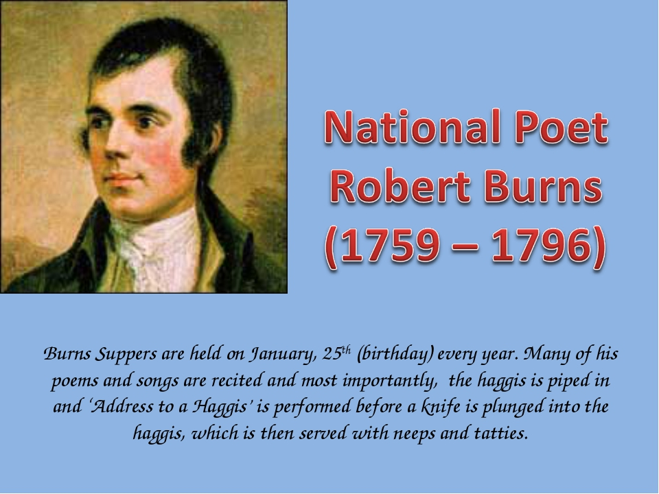 Burns Suppers are held on January, 25th (birthday) every year. Many of his po...