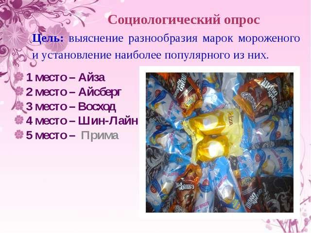 Социологический опрос Цель: выяснение разнообразия марок мороженого и установ...