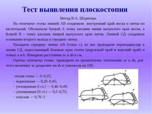 Тест выявления плоскостопия Метод В.А. Штритера. На отпечатке стопы линией АВ