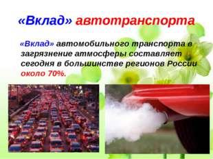 «Вклад» автотранспорта «Вклад» автомобильного транспорта в загрязнение атмосф