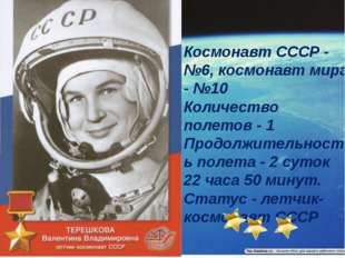 Космонавт СССР - №6, космонавт мира - №10 Количество полетов - 1 Продолжите