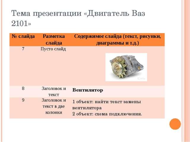Тема презентации «Двигатель Ваз 2101» № слайда Разметка слайда Содержимое сла...