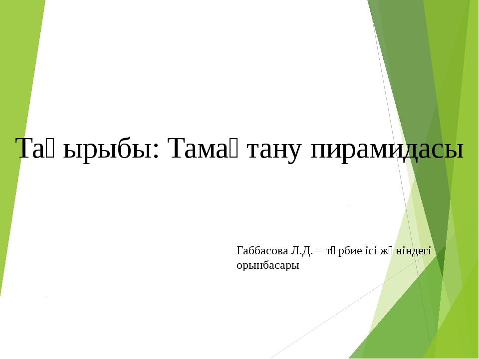 Тақырыбы: Тамақтану пирамидасы Габбасова Л.Д. – тәрбие ісі жөніндегі орынбас...