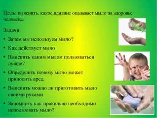 Цель: выяснить, какое влияние оказывает мыло на здоровье человека. Задачи: За