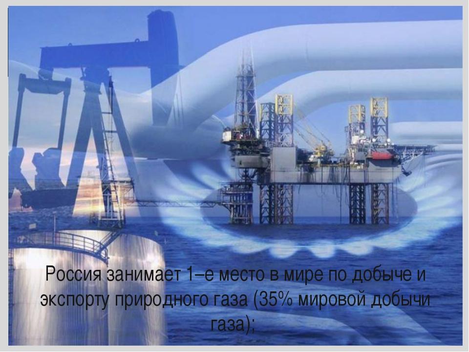 Россия занимает 1–е место в мире по добыче и экспорту природного газа (35% м...