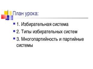 План урока: 1. Избирательная система 2. Типы избирательных систем 3. Многопар