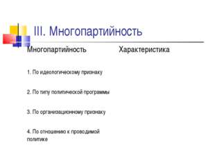 III. Многопартийность Многопартийность Характеристика 1. По идеологическому