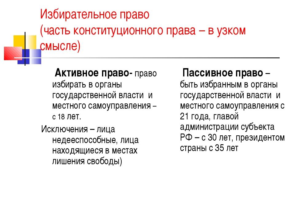 Избирательное право (часть конституционного права – в узком смысле) Активное...
