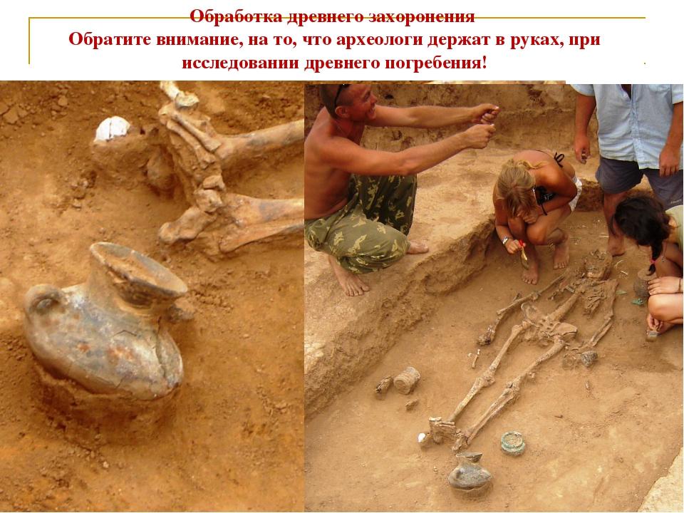 Обработка древнего захоронения Обратите внимание, на то, что археологи держат...