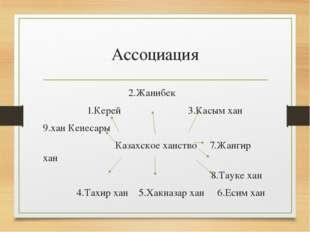Ассоциация 2.Жанибек 1.Керей 3.Касым хан 9.хан Кенесары Казахское ханство 7.Ж
