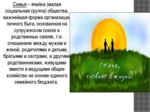 Семья – ячейка (малая социальная группа) общества, важнейшая форма организаци