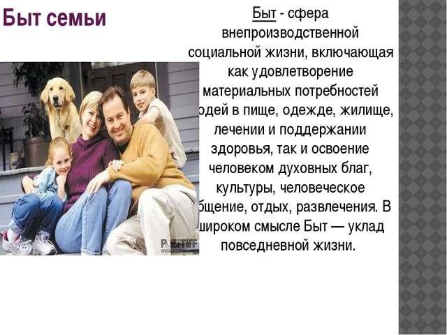 Быт семьи Быт - сфера внепроизводственной социальной жизни, включающая как уд...