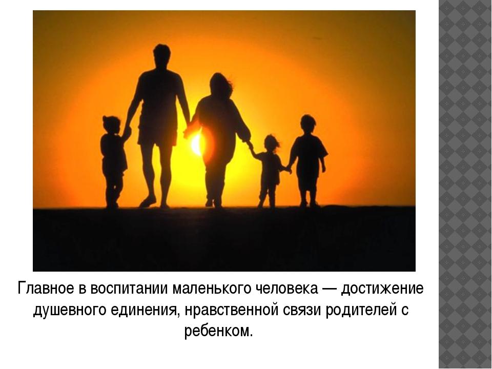 Главное в воспитании маленького человека — достижение душевного единения, нра...