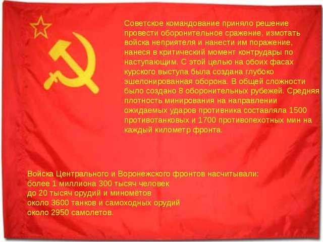 Советское командование приняло решение провести оборонительное сражение, измо...