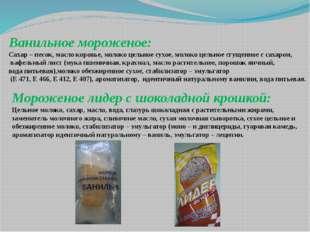 Ванильное мороженое: Сахар – песок, масло коровье, молоко цельное сухое, моло