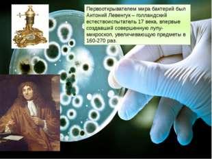 Первооткрывателем мира бактерий был Антоний Левенгук – голландский естествоис