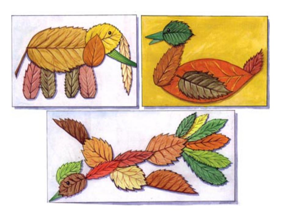 Поделки из природного материала на бумаге
