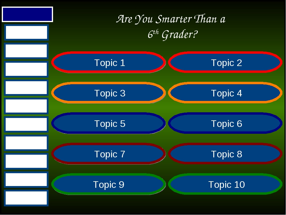 Are You Smarter Than a 6th Grader? Topic 1 Topic 2 Topic 3 Topic 4 Topic 5 To...