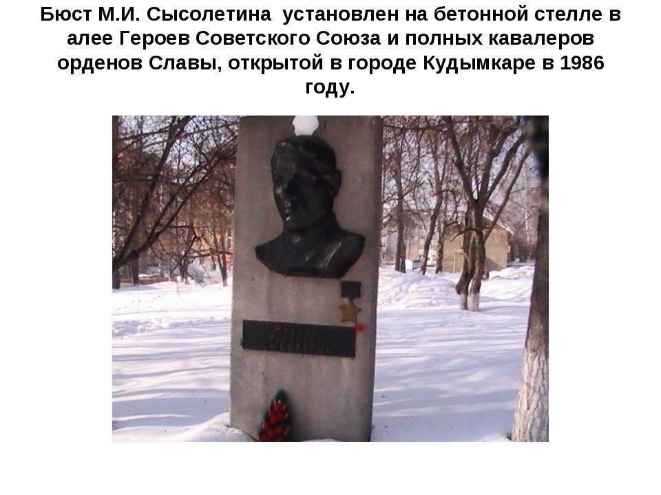 Бюст М.И. Сысолетина установлен на бетонной стелле в алее Героев Советского С...