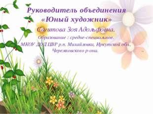 Руководитель объединения «Юный художник» Сагитова Зоя Адольфовна. Образование