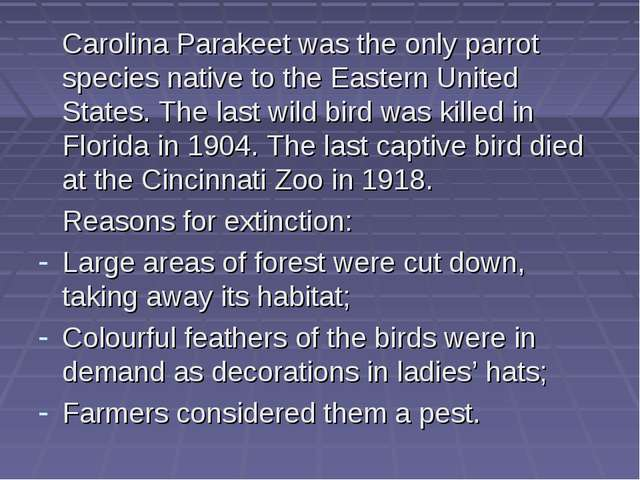 Carolina Parakeet was the only parrot species native to the Eastern United S...