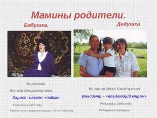 Мамины родители. Бабушка. Кононова Лариса Владимировна  Лариса –славян. «чай
